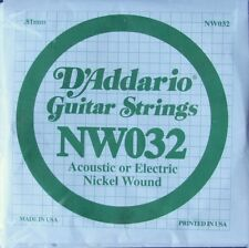 D'Addario Nickel Wound .032 Electric or Acous. Singles, Nw032