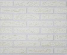 9044-3) 1 Rolle hochwertige dicke Schaum Tapete Klinker Riemchen weiß