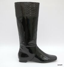 New Coach *FRESNA* Patent Leather Knee-High Flat Tall Boot Shoe ~Black *6