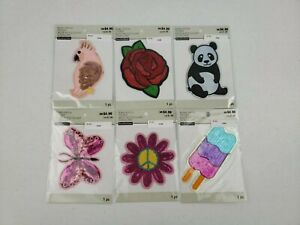 LOT OF 6 Bling Patches Stickers Parrot Rose Panda Butterfly PeaceFlower Popsicle