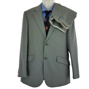 Bossini London Mens 2 Pieces Suit Charcoal Striped Wool/Poly Sz AU 38 R SU06