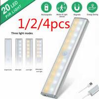 20 LED Wireless Under Cabinet Light USB Rechargeable Motion Sensor Closet Lights