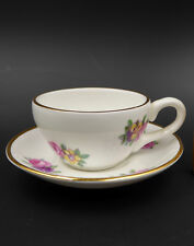 Royal Adderley Miniature Cup Saucer Floral Bone China White England Vtg