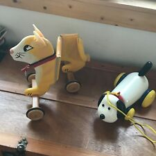 Estate Lot of 2 Plastic White Dog & Large Painted Yellow Wood Kitty Cat Pull Toy