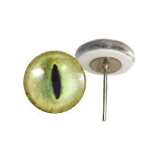 Pair of 12mm Pale Yellow Cat Glass Eyes on Wire Pin Posts for Felt Doll Making
