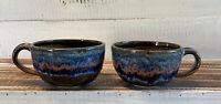 Set of 2 Norwood Drip Glazed Art Pottery Coffee Tea Cups Blue