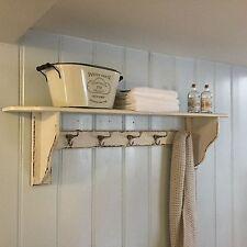 Solid Wood Cream Shelf With Hooks Coat Hall Bathroom French Chic Shabby Vintage