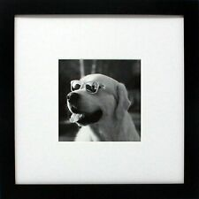 10x10 Black Gallery Picture Frame with 5x5 Mat - Wide Molding - Tabletop or Wall