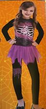 Skeleton Zombie Jumpsuit Halloween Costume Black Pink Trim Girls S/M 4-6 - NIP