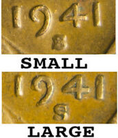 """1941 """"S"""" Large & Small, S mintmarks A transitional year pair.   Scare Variety"""