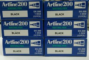 72 x Artline 200 BLACK 0.4mm Fine Line Pens