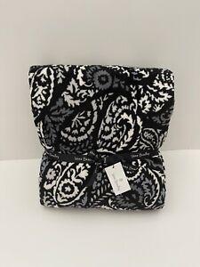 "Vera Bradley Plush Throw Blanket in Fleece Paisley Noir Oversized 80"" x 50"" NWT"