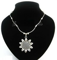 """Large Vintage Tibetan Silver Sunflower Pendant Necklace with 2""""/4"""" extension"""