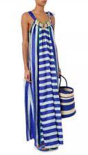 Easton Pearson Silk Vana Maxi Resort Dress Blue White Stripe L 14-16 @new