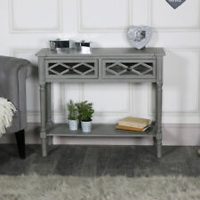 Ornate grey mirror front 2 drawer console table living room hallway furniture