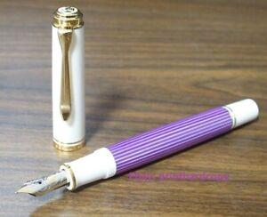 2019 Special Edition Pelikan Souveran M600 Violet White Fountain pen 14K Nice !