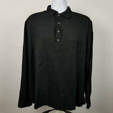 Polo Ralph Lauren Mens Black Long Sleeve Adult Polo Shirt Size 2Xl Xxl