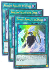 Set 3X  RAPSODIA RINASCITA DEL DRAGO  LC06-IT004 Ultra Rara in Italiano YUGIOH