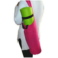 Large Storage Yoga Mat Gym Bag Wide Sling Carrier w/ Strap Fitness Zipper Pocket