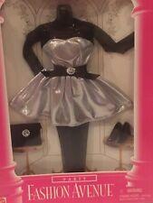 Barbie Fashion Avenue Party 1996 Silver Dress, Black Lace Sleeves #15866 NRFB