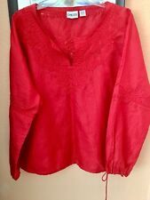 Chico's 100% Silk Exlusive Of Decoration Red Blowson Style Blouse Size 2(12-14)