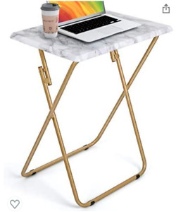 NEW Folding TV Faux Marble Tray Table Coffee Snack Dinner Laptop Foldable