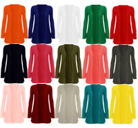 Womens Jersey Plain Drop Pocket Long Sleeve Open Cardigan Ladies Basic Top 8-26