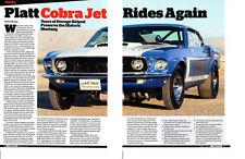 1969 FORD MUSTANG COBRA JET 428/335HP HUBERT PLATT ~  GREAT 4-PAGE ARTICLE / AD