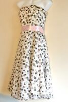 Debut Pink Polka Dot Dress Floaty Fit and Flare size 8 Evening Prom Wedding