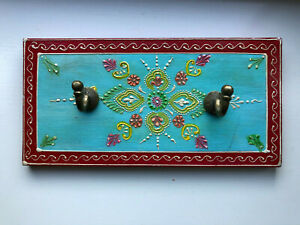 Wooden Hand painted Turquoise Coloured  Hand Painted Wall Hooks - Double Hooks