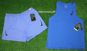 "Nike Men's Aeroswift 4"" Running Shorts & Singlet Tank Top, Purple/Blue, Size M"