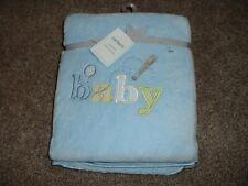 Carters Cozy Baby Boys Blanket Blue Baseball Satin Edge Plush Cuddly Infant NWT