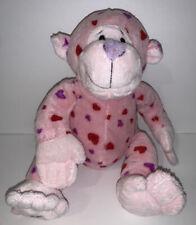 "Ganz Webkinz Pink Heart Plush Stuffed Animal Love Monkey red & purple hearts 9"""