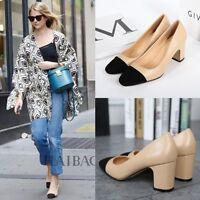 WomenFashion Black Square Cap Toe Med Block Heels Court Work OfficePump Shoes
