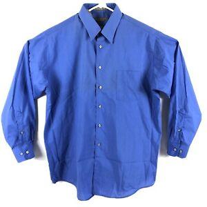 Claybrooke Wrinkle Free Long Sleeve Button Down Shirt Blue Men's XL 17.5 34/35