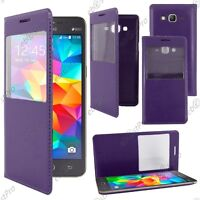 Housse Etui S View PU Cuir Violet Galaxy Grand Prime Value Edition G531F