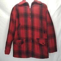 Vintage Buffalo Plaid Wool Hunting Coat Jacket Game Pocket Quilt Lined Size 40