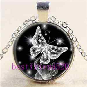 Butterfly Diamond Cabochon Glass Tibet Silver Chain Pendant Necklace