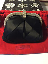 Valentino Satin Clutch with Crystal Clasp
