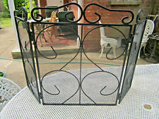Old Vintage Wrought Iron Framed Fire Guard Surround Screen