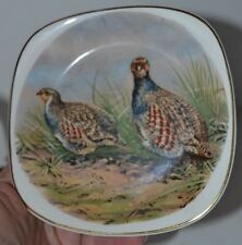 Vintage Staffordshire Crown Square Plate Phesants Birds