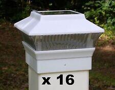 16 Solar Fence Cap LED Lights - Fit 4x4 PVC / VINYL Fence Posts White - PL244W