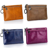 Genuine Leather Small Mini Wallet Bag Coin Purse Card Holder Triple Zip Clutch