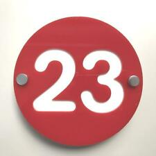 Round Number House Sign - Red & White Gloss Finish