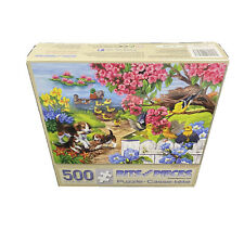 Time For Lessons 500 Pc Jigsaw Puzzle Bits And Pieces Puppy Dog Duck Nature Pond