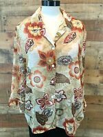 ALFRED DUNNER Women 18~1X Plus Red-Orange/Tan-Floral 3/4-Sleeve Blouse Top NWOT