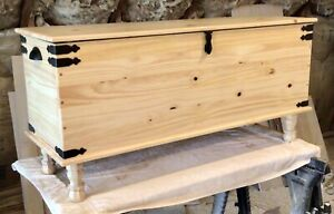American Made! Amish Style Blanket Hope Chest Solid Wood Vintage Farmhouse Trunk