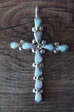Navajo Indian Sterling Silver Opal Cross Pendant