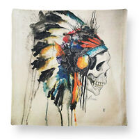 Human Skull Indian Warbonnet Square Cushion Cover Cases Home/Office/Sofa/Couch