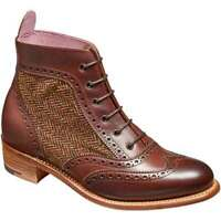 Bottes Oxford à lacets en cuir / tissu marron véritable pour femmes à la main